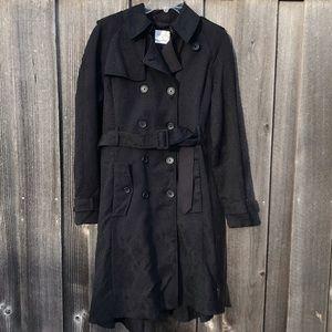 ALTUZARRA Black Snake Print Belted Trench Coat XL